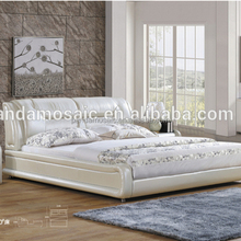 1612# Elegant Carved White Wooden European Leather Bed