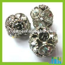 European style pave crystal diamond metal alloy beads round ball