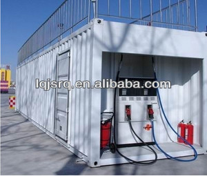 container mobile petrol gas fuel station with pump and dispensers