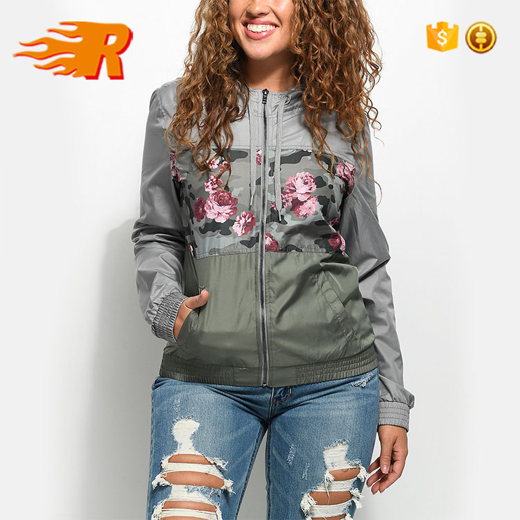 Waterproof Lightweight Custom Polyester Windbreaker Women Jacket With Hooded
