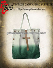 BUG hot sell Green Dip dye vintage canvas tote hand shopping beach bag manufacture wholesale