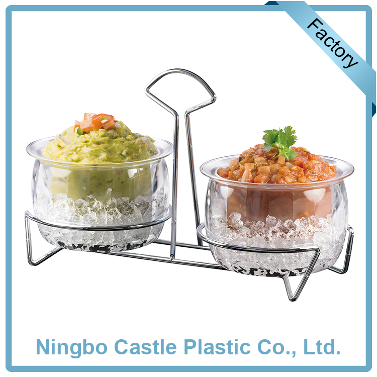 Wholesale Dip Chillers Acrylic Salad Bowl On Ice Dip Bowls