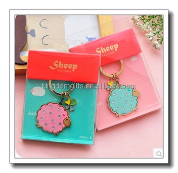 New metal sheep keychain, sheep keychain with diamond