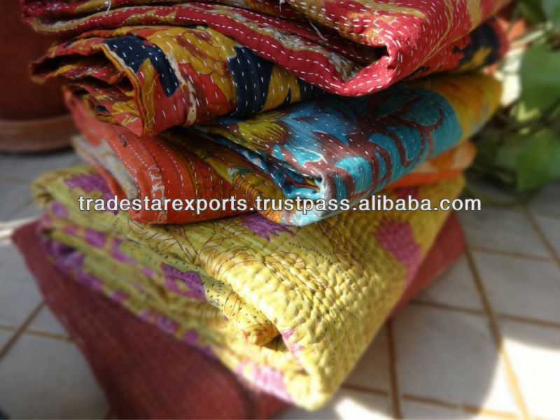 Indian handmade bedspread , Kantha bed sheet