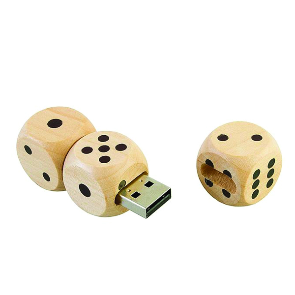 Promotional Gadgets Name Printed Pen Drive Wooden Dice USB Disk 64GB