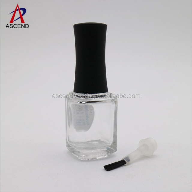 15ml hexagonal empty clear nail polish bottle uv gel holder with brush