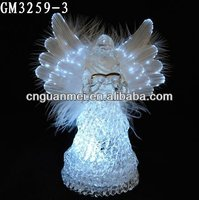 2015 new christmas decoration glass stars small optical fiber angel with swing and LED light
