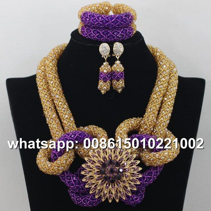 2016 handmade fashion pink crystal beads jewelry sets nigerian ...