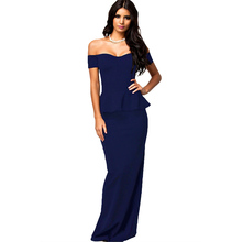 hot wholesale women sexy slimming evening wear full size long backless dress