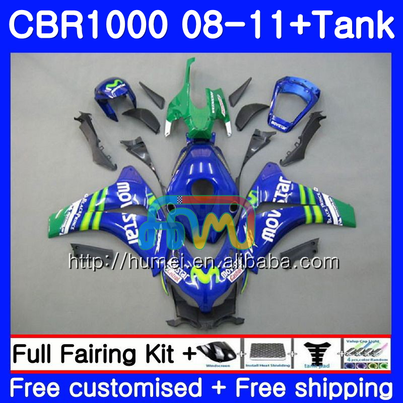 Body For HONDA CBR1000 RR CBR 1000RR 2008 2009 2010 2011 6HM43 Movistar Blue CBR 1000 RR 08-11 CBR1000RR 08 09 10 11 Fairing kit