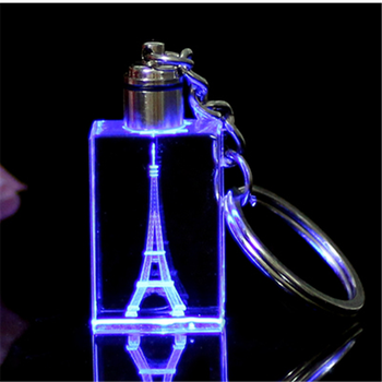 Fancy Cheap customized design engraved crystal key chain /handmade colorful Crystal LED key ring