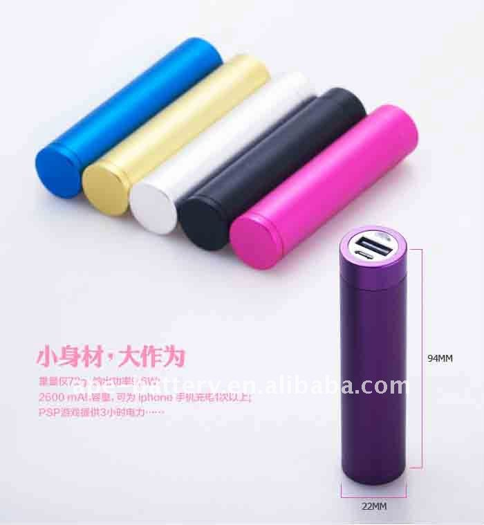 External portable battery bank 18650 cell tube battery 2600mAh usb 1A/5V