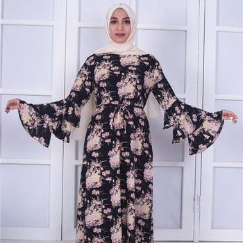 New Arrival Abaya Dubai Floral Printing Ruffle Thick Evening Muslim Dress Kaftan For Pregnant Women Baju Kurung Batik Modern