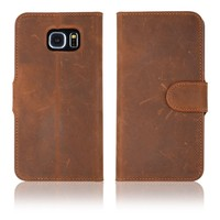 C&T Brown Premium Genuine Leather Stand Wallet Case Cover for Samsung Galaxy S6