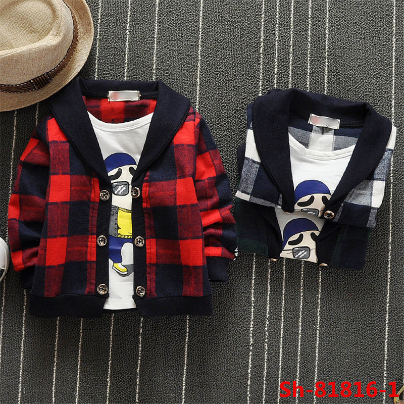 Top fashion Fake two pieces kids coat boys grid coat + cartoon printed t shirts