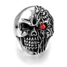 Men Punk Skull Jewelry Red Zircon Stone design 316L Stainless Steel Ring