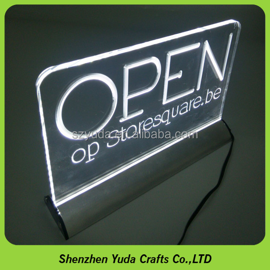 Most popular acrylic lighted Open sign LOGO LED edge lit sign with aluminum base