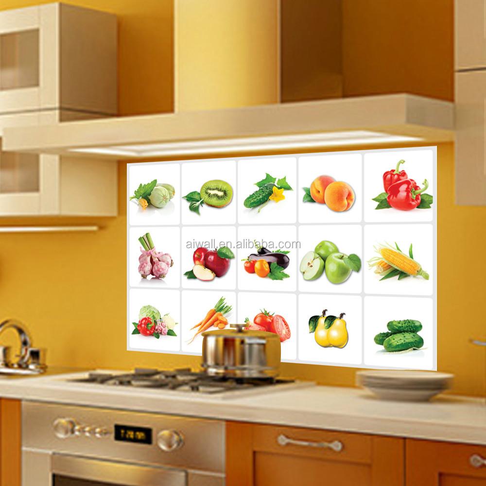 3019 abnehmbare Obst/Gemüse Muster Anti-öl Wandtattoos Küche ...