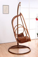 Brown single rattanwicker PE garden swing chair with iron frame