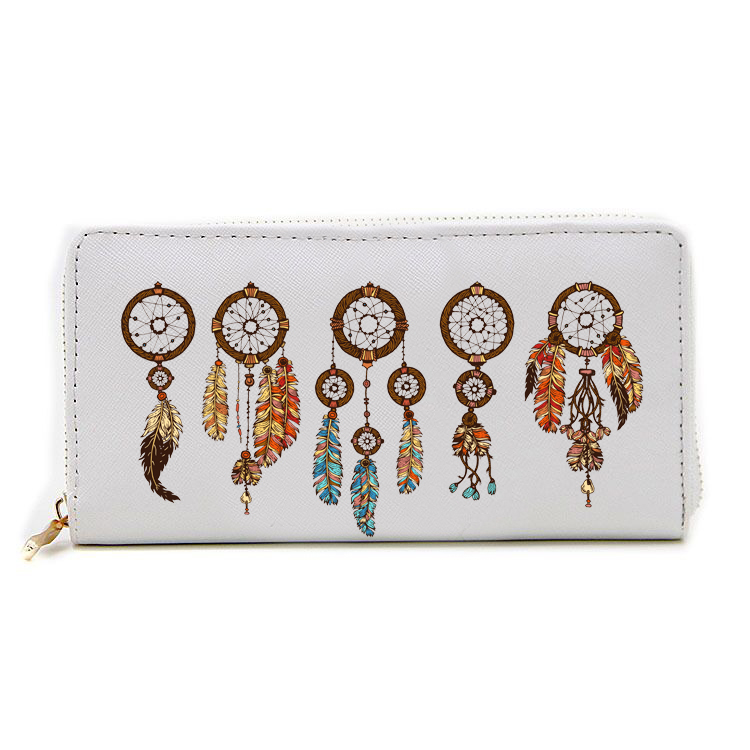 WA020-007 new fashion wholesale dream cathcher printing women canvas zipper <strong>wallet</strong>