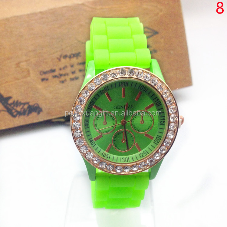 New Design Geneva Watch,Hot Sell Silicone Watch,High Quality Fashion Ladies Bracelet Wrist Watch