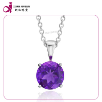 Fashion 925 sterling silver cz Diamond amethyst Birthstone pendant