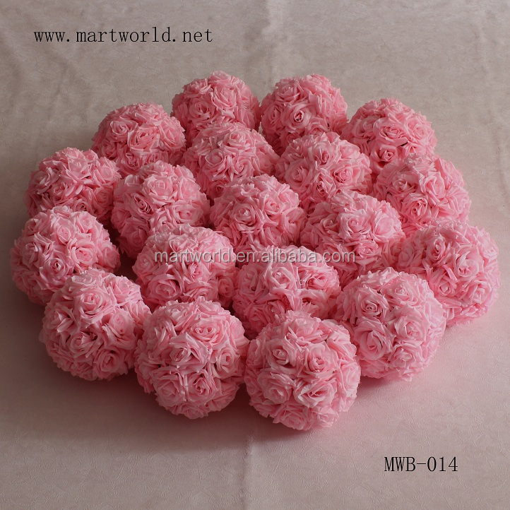 beautiful wholesale artificial pink rose flower ball for wedding decoration weding flower ball supplies in guangzhou (MWB-014)