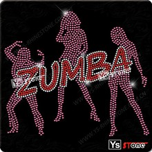 Wholesale rhinestone iron-on motif zumba rhinestone transfers