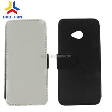 2D Sublimation Leather phone cases for HTC M7 Blanks wallet leather case for htc one m7