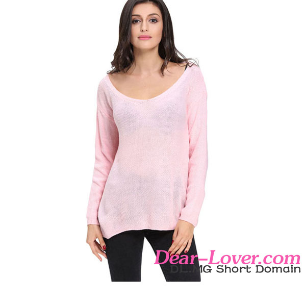 Beautiful Pink Knitted Long Sleeve Plunge Jumper sport sweaters