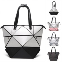 Origami Style Fashion Handbag Bao Geometric Diamond Shape PU hand <strong>bag</strong> <strong>Tote</strong> Blue Patchwork Women <strong>bag</strong>