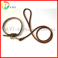 Durable Cow Leather Rope Dog Collar and Leash