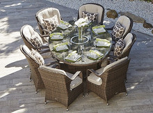 Side open chair designed uk style outdoor dinner dining table set wintech wicker rattan furniture