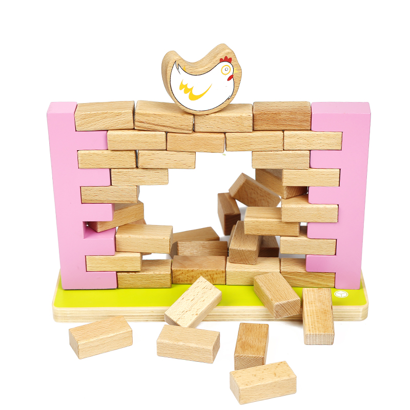 Funny wooden puzzle game intelligence toy wall game with chick