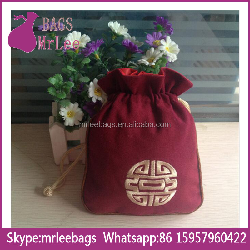 Custom drawstring Velvet bead bags with Embroidery logo