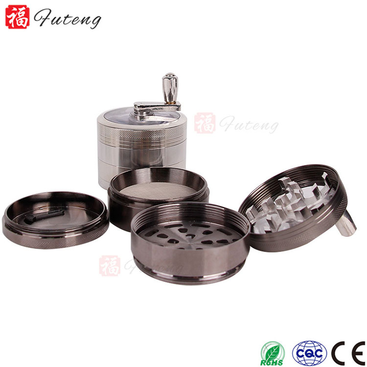 Futeng 63MM 4layers CNC Custom Zinc Pipe Dry Herbal Grinders With Handle