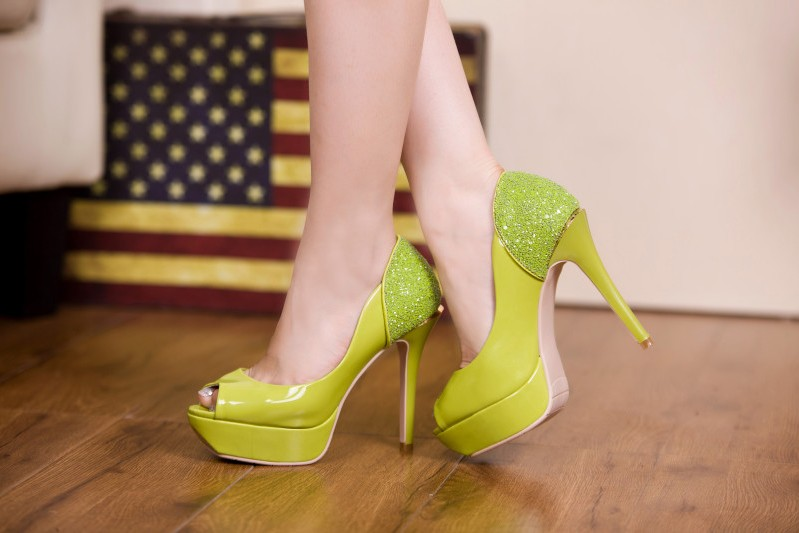 Elegant Fashion Girls Green High Platform Heels Shoes Women Sexy Peep Toe Heels Pumps Shoes Ladies Party High Heel Shoes