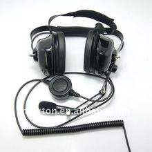 Noise cancelling headset for walkie talkie with heavy duty PTT