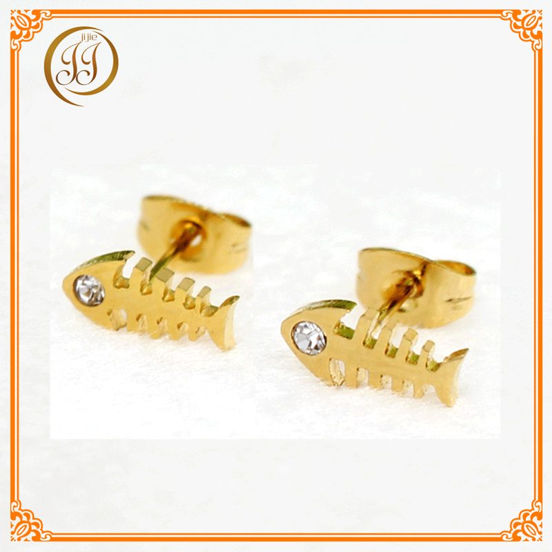 Jewelry Manufacturers Direct Supply Rhinestone Small Earrings Fishbone Shape 14k Gold Stud Earrings For Promotion