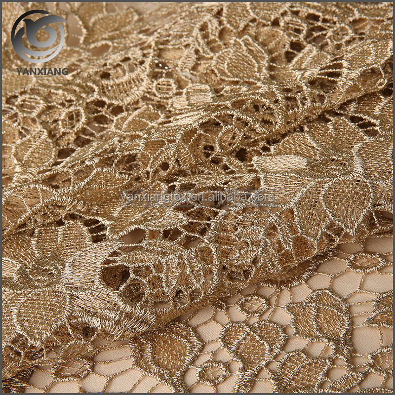 Promotional top quality embroidered tulle lace fabric
