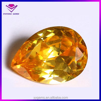 Pear cut yellow topaz cubic zirconia gemstone low sapphire price stone for wrist watch