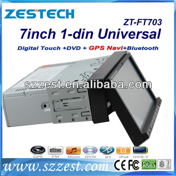ZESTECH New single DIN 7 inch universal car DVD with GPS, bluetooth, radio, RDS, TV, SD, USB,etc (ZT-FT703)