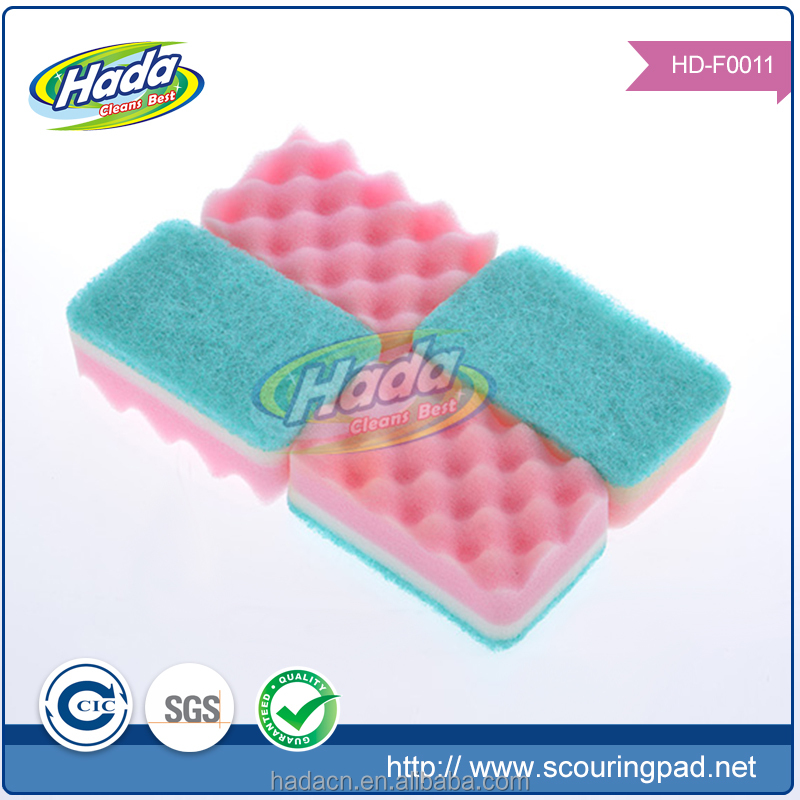 Heavy Duty scouring pad sponge, Eco-friendly Kitchen scouring pad with sponge