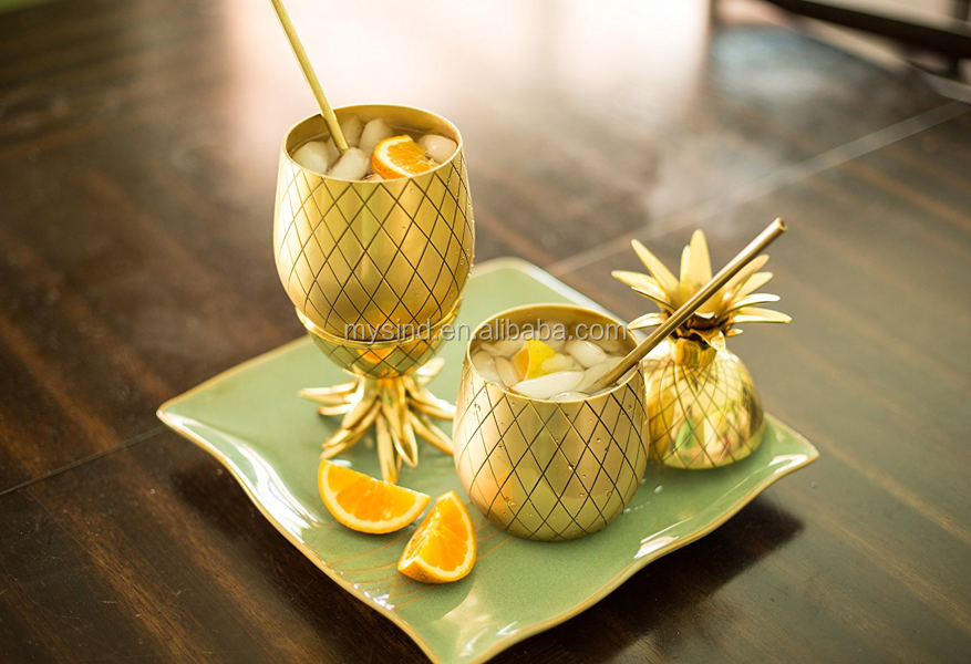 Pineapple cocktail beer mug with straw