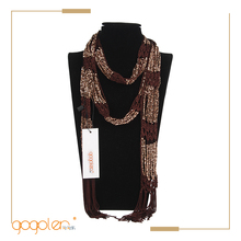 hot selling products fishnet fabric scarf holding beaded necklace crochet scarf for wholesale