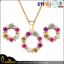 Four-leaved clover necklace shape ornament crystal jewelry necklace earring set