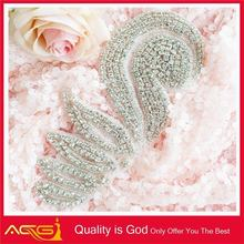 New Style Fancy Rhinestone Applique Wedding Silver Crystal Handmade hand embroidery designs for dress 2012