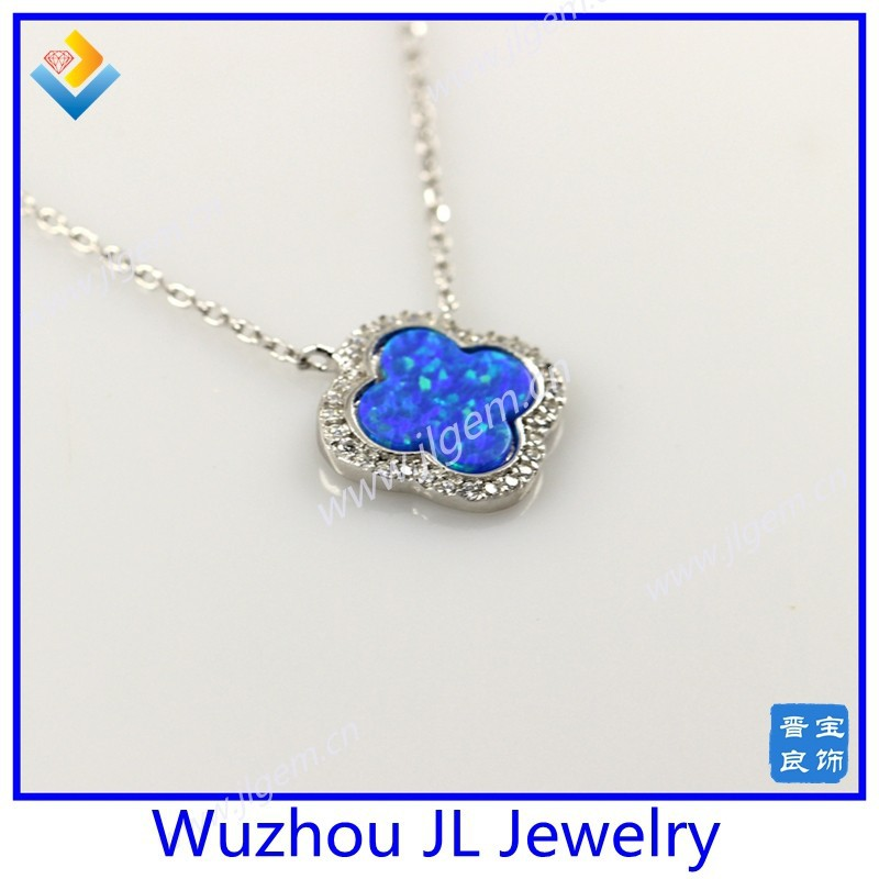 Wholesale Price Synthetic Blue Clover Opal With Cubic Zirconia S925 Silver Pendant Necklace Jewelry