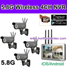 Cool! 4 channel cctv dvr kits with HD 5.8Ghz global use video camera, 720P, 7 inch touch LCD, ISO/Android APP, IP66 waterproof,