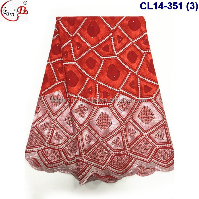 Available 7 color high quality cotton lace wholesale 100% cord lace fabric for woemn gowns
